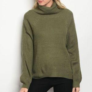 Sweaters - GREEN KNIT TURTLENECK SWEATER